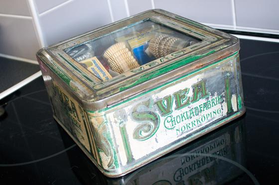 Plåtburk från Svea Chokladfabrik